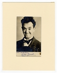 Stan Laurel Signed and Inscribed Photograph JSA LOA