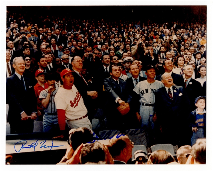Richard Nixon and Ted Williams Signed Opening Day Baseball Photograph JSA LOA