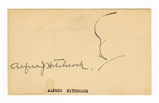 Alfred Hitchcock Signed Card with Sketch JSA LOA