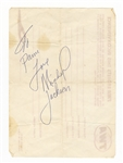 Michael Jackson Signed and Inscribed Airlines Receipt JSA LOA