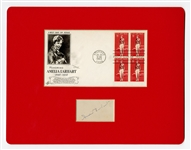 Amelia Earhart Signature Cut and Commemorative First Day Cover JSA LOA