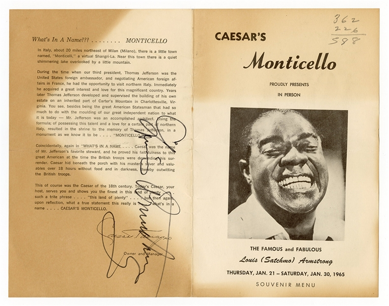 Louis Armstrong Signed Performance Program JSA LOA
