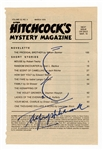 Alfred Hitchcock Signed Hitchcocks Magazine Page with Sketch JSA LOA