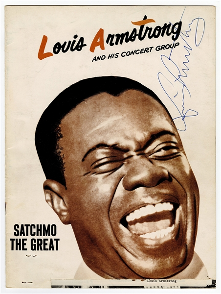 Louis Armstrong Signed Concert Program JSA LOA