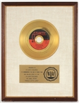 "Led Zeppelin ""Whole Lotta Love"" Original RIAA White Matte Gold Single Record Award"