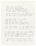 Rick James Handwritten Unreleased Song Lyrics