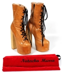 Lady Gaga 2009 Elle Magazine Photo Shoot Worn Worn Natacha Marro Brown Leather Lace-Up Platform Boots