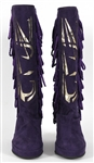 Prince Custom Purple Suede Stage Boots