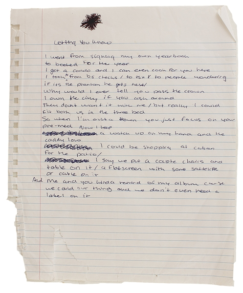 "Drake Handwritten Working Lyrics Titled ""Letting You Know"""
