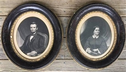 1860s Abraham Lincoln and Mary Todd Original Large Photographic Print Engravings