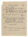 "Madonna Early Handwritten ""Swing With Me"" Early Unreleased Song Lyrics"