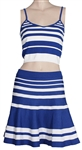 Taylor Swift Owned & Worn Blue and White Striped Top and Skirt