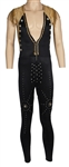 Rick James Stage Worn Black and Gold Studded Jumpsuit with Black & Silver Studded Boots