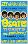 The Beatles Extremely Rare, Original One-of-a-Kind Original 1966 Toronto Maple Leaf Gardens Concert Poster