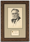 Franklin D. Roosevelt Signed New York Executive Mansion Signature Card with Original Portrait Sketch JSA L:OA