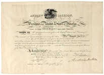 President Andrew Jackson Signed Document JSA LOA