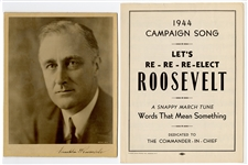 Franklin Roosevelt Signed Photograph With Campaign Sheet Music JSA LOA