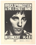 Bruce Springsteen & The E Street Band April 4th, 1981 Concert Promotion Poster