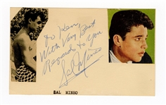 Sal Mineo Signed and Inscribed Postcard JSA LOA