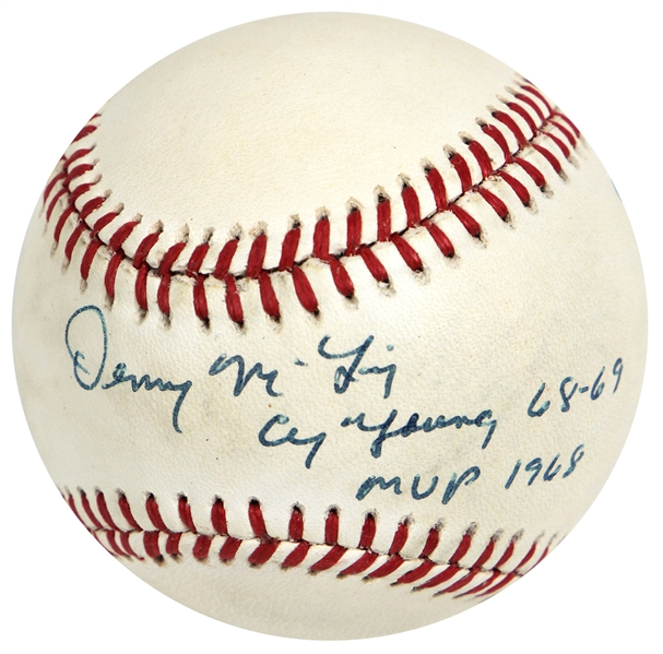 Denny McLain Cy Young Winner 1968-1969 Signed Baseball