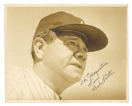 Babe Ruth Signed and Inscribed 8x10 Black and White Photograph
