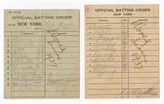 1937 Game 2 World Series Line-Up Cards Yankees vs. Giants (With Gehrig and DiMaggio