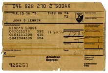 Beatles John Lennon Original 1973 American Express Card Receipt with His Carbon Signature