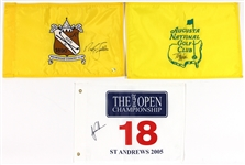 Tiger Woods, Tom Watson and Nick Faldo Signed Golf Championship Flag Lot
