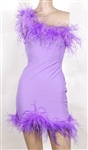 Miley Cyrus Worn Purple Dress with Feathers