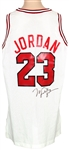 Michael Jordan Owned and Game Used Signed 1991 Chicago Bulls Home Mesh Jersey