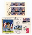 Chuck Yeager Signed Aviation Cachet Envelope & Postage Stamp Panel JSA