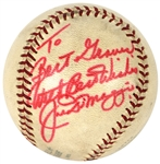 Joe DiMaggio Uniquely Signed Baseball to Hollywood Producer Bert Granet