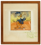 Walt Disney Signed Donald Duck Original Animation Cel With Original Hand Painted Background (Saludos Amigos - 1942) JSA