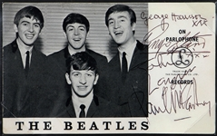 The Beatles Signed Parlophone Promotional Card Frank Caiazzo LOA