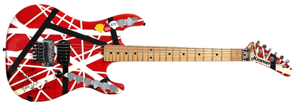 Eddie Van Halen Played and Signed Custom Striped Kramer Frankenstrat Guitar with Eddie's Cigarette Butts JSA