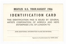 The Beatles 1966 U.S. Tour Identification Card