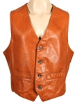 Tom Petty Owned & Worn Brown Leather Vest