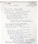 "Rickie Lee Jones Handwritten ""The Horses"" Lyrics Signed and Inscribed to her Daughter"